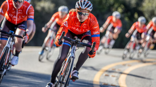To train for the high temperatures in the following week's Santos Womenís Tour Down Under, Krista Doebel-Hickok wore all the winter gear she could zip up while training in the Santa Monica mountains. Doebel-Hickok placed fourth overall there, her first race for 2019.