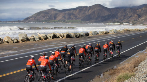 While a January storm surge consumed a beach outside of Malibu, the team headed back to Oxnard following a long ride in the canyons. The flat miles along Pacific Coast Highway serve as handy recovery before the riders get home.