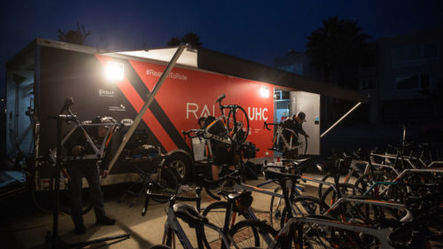 Sixteen riders at camp means around 35 bikes for the mechanics to keep track of, and the long training miles on new and slightly unfamiliar equipment meant they didn't finish work until late into the night.