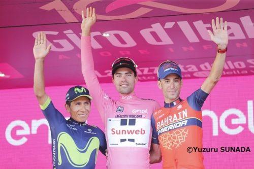 28 May 2017<br /> 100th Giro d'Italia<br /> Stage 21 : Monza (Autodromo) - Milano ITT<br /> Final Podium<br /> 1st : DUMOULIN Tom (NED) Sunweb<br /> 2nd : QUINTANA Nairo Alexander (COL) Movistar<br /> 3rd : NIBALI Vincenzo (ITA) Bahrain - Merida<br /> Photo : Yuzuru SUNADA