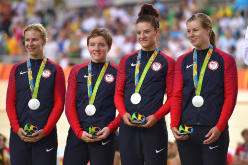 Cycling: 31st Rio 2016 Olympics / Track Cycling: Women's Team Pursuit FinalsPodium / Team UNITED STATES (USA)/ Sarah HAMMER (USA)/ Kelly CATLIN (USA)/ Chloe DYGERT (USA)/ Jennifer VALENTE (USA)/ Silver Medal / Celebration /Rio Olympic Velodrome /Summer Olympic Games / © Tim De Waele
