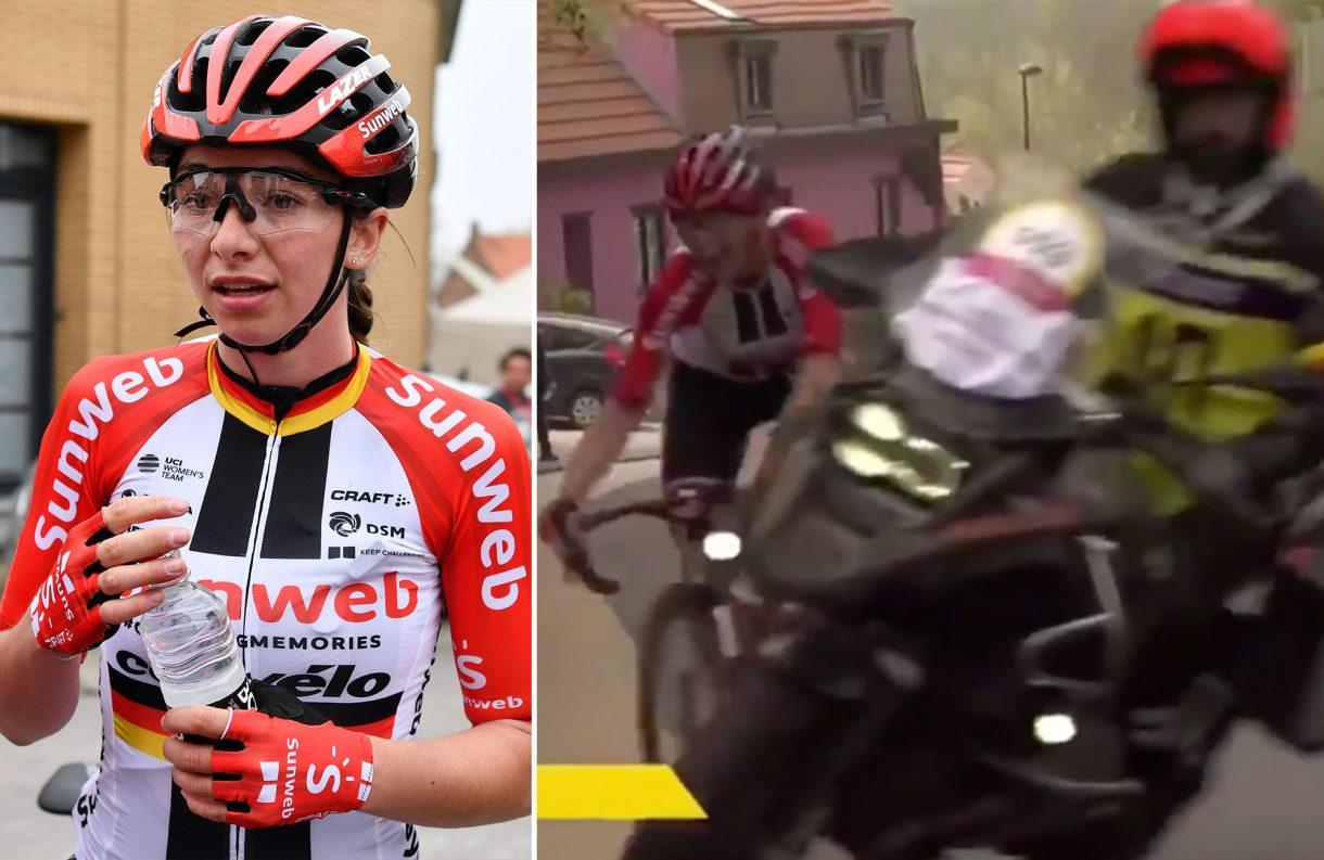 https://www.cyclingweekly.com/news/racing/close-call-motorbike-nearly-crashes-sunweb-rider-de-brabantse-pijl-womens-race-420514