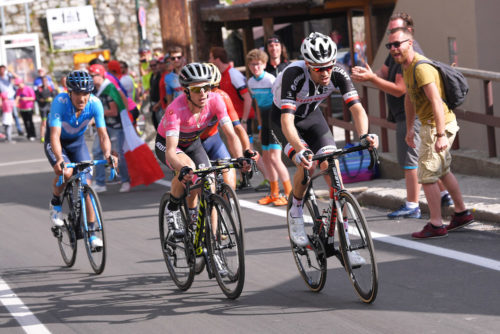PRATO NEVOSO, ITALY - MAY 24: Tom Dumoulin of The Netherlands and Team Sunweb /  Simon Yates of Great Britain and Team Mitchelton-Scott Pink Leader Jersey / Domenico Pozzovivo of Italy and Team Bahrain-Merida / Richard Carapaz of Ecuador and Movistar Team / during the 101st Tour of Italy 2018, Stage 18 a 196km stage from Abbiategrasso to Prato Nevoso 1607m / Giro d'Italia / on May 24, 2018 in Prato Nevoso, Italy. (Photo by Tim de Waele/Getty Images)