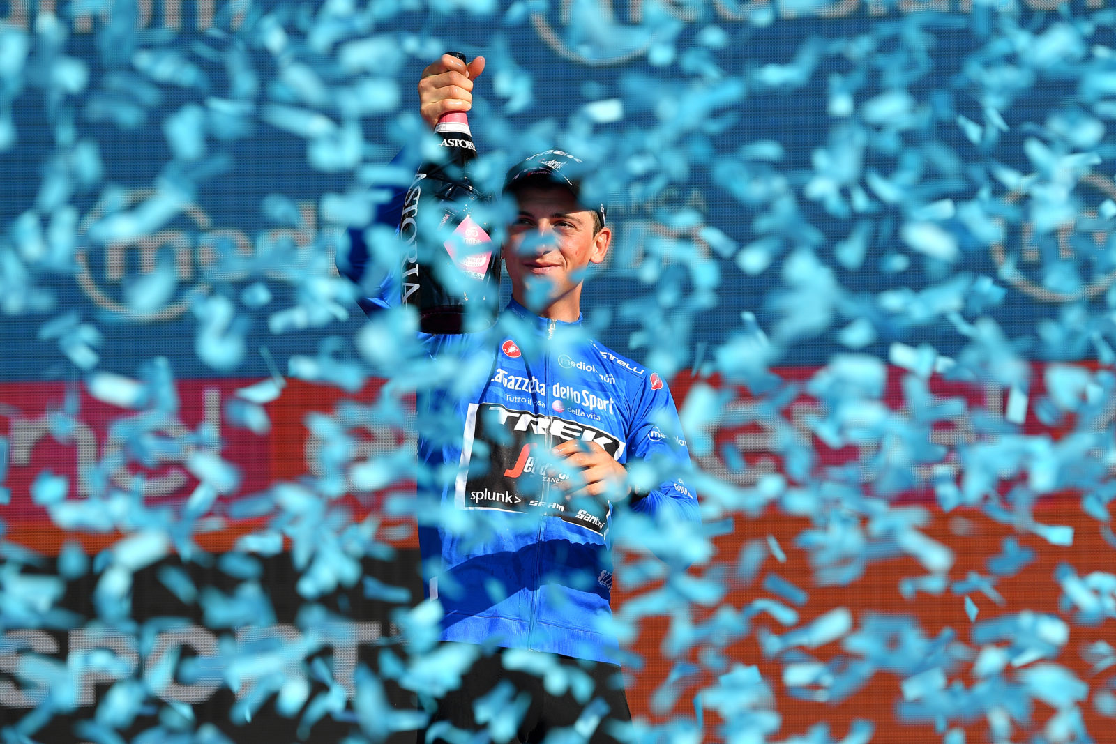 VERONA, ITALY - JUNE 02: Podium / Giulio Ciccone of Italy and Team Trek - Segafredo Blue Mountain Jersey / Celebration / Champagne / during the 102nd Giro d'Italia 2019, Stage 21 a 17km Individual Time Trial stage from Verona - Fiera to Verona - Arena / ITT / Amphitheatre / Arena di Verona / Tour of Italy / #Giro / @giroditalia / on June 02, 2019 in Verona, Italy. (Photo by Justin Setterfield/Getty Images)