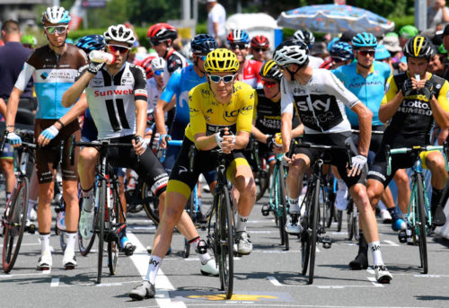Saint-Lary-Soulan - France - wielrennen - cycling - cyclisme - radsport -  DUMOULIN Tom (NED) of Team Sunweb, THOMAS Geraint (GBR) of Team SKY, FROOME Chris (GBR) of Team SKY pictured during the 105th Tour de France - stage - 17 from Bagn俊es-de-Luchon to Saint-Lary-Soulan - 65KM - photo VK/PN/Cor Vos ゥ 2018